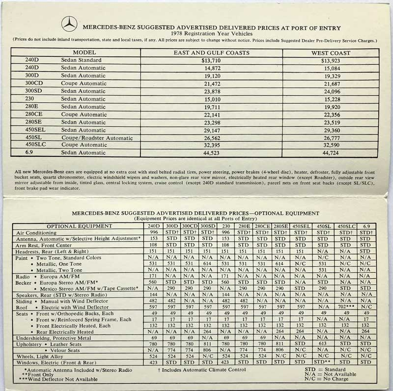 1978-Original-Mercedes-Price-List-Mercedes-Market