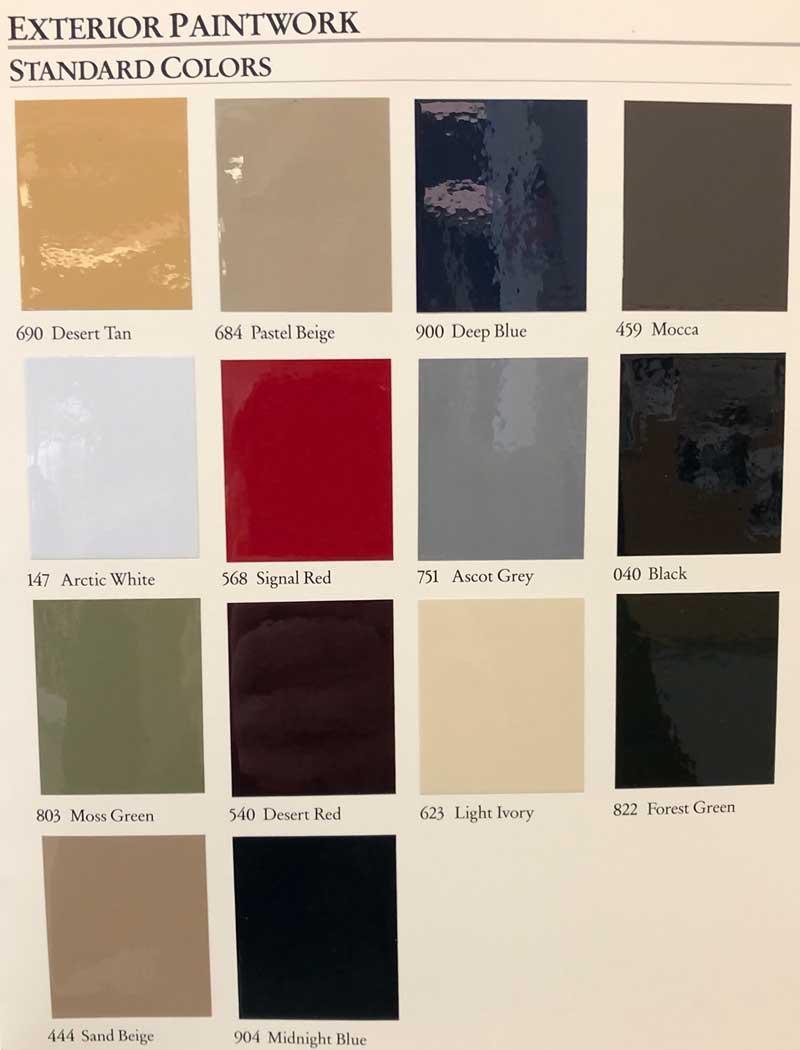 1986-Mercedes-Color-Options-Standard-Paint