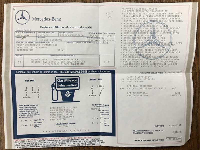 1992 Mercedes 500 E For Sale Tobin Motor Works-original-window-sticker